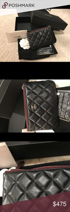 Authentic Chanel Black Lamb Mini Ocase Super hard to find authentic chanel mini black lamb ocase up for grabs!!! Gently used so no signs of wear. Auth card, dustbag, box, boutique bag and camellia all included. No receipts but purchased in may 2017 at US chanel boutique. Will give better deal on PP friends and family - will ship with insurance! No trades! Serious inquiries only! CHANEL Bags Wallets