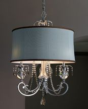 """I really love the """"GLAM"""" look of a drum shade over a chandelier. May try this for bedroom chandelier I just painted!"""