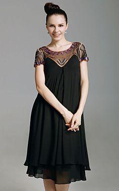 Chiffon+Sheath+Scoop+Knee-length+Cocktail+Dress+With+Beaded+...+–+USD+$+129.99