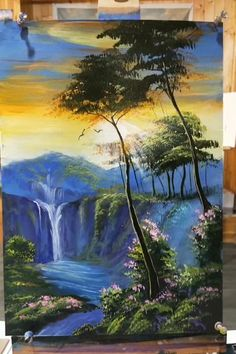 Canvas Painting Tutorials, Diy Canvas Art, Acrylic Painting Canvas, Acrilic Paintings, Lake Painting, Landscape Art, Easy Landscape Paintings, Canvas Painting Landscape, Art Drawings