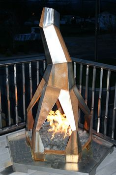 "Free Standing Outdoor Gas Fireplace ( 60""h x 40""w x 40""d)  Welded Stainless and Mild Steel"