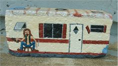 I love painting red-neck trailers because I love these people. They are so much a part of America. On the front is Jimmy Darnell (fictitious) with a beer Painted Bricks Crafts, Brick Crafts, Painted Pavers, Stone Crafts, Painted Rocks, Cement Pavers, Painted Tiles, Pebble Painting, Love Painting