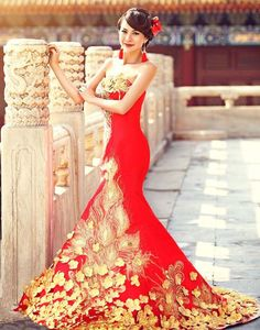 Stock NEW Red Cheongsam Train Quinceanera Dresses Evening Prom Party Ball Gown | eBay