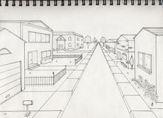 Elements to incorporate in a perspective drawing of a street: mailboxes, sidewalks, fences, reflections on windows.
