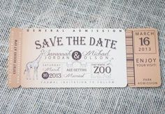 Fun zoo ticket save-the-date by Paper Planet. Styled shoot by Tami Winn Events. Photo by Tracy Autem Photography. Laser Cut Invitation, Invitation Design, Invitation Cards, Summer Wedding, Our Wedding, Dream Wedding, Wedding Ideas, Wedding Stationery, Wedding Invitations