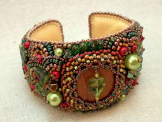 """""""Deep Forest"""" cuff bracelet by Cindy Caraway - jewelry, bead embroidery"""