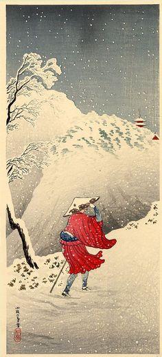 Snowy Evening on a Mountain Path, Hiroaki Takahashi (Japan, Japan, before Prints, Color woodblock print. Japan Illustration, Japanese Woodcut, Culture Art, Art Asiatique, Art Japonais, Japan Art, Japan Japan, Japanese Painting, Art Graphique