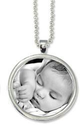 Deep Set Large Circle Pendant Sterling Silver Plated with Bail