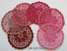PINK ROSE CROCHET: Centrinhos Flor Pink Porta-Copos Coasters