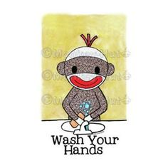Sock Monkey Bath Room Bathroom Reminders print wall art SockMonkeys Monkeys WASH YOUR HANDS 5 x 7 print wall art bathroom rules Monkey Bathroom, Bathroom Kids, Little Monkeys, Sock Monkeys, Hand Socks, Monkey Drawing, Classroom Themes, Classroom Design, Kindergarten Classroom