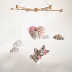Handmade crochet Baby mobil Rabbit on the striped ballon Crochet Baby Mobiles, Crochet Mobile, Crochet Baby Toys, Baby Knitting, Handgemachtes Baby, Baby Kind, Crochet Decoration, Baby Decor, Crochet Crafts