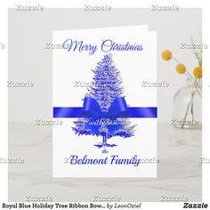 Shop Royal Blue Holiday Tree Ribbon Bow Custom Name created by LeonOziel. Holiday Tree, Holiday Cards, Christmas Cards, Ribbon Bows, Royal Blue, Seasons, Modern, Prints, Vintage