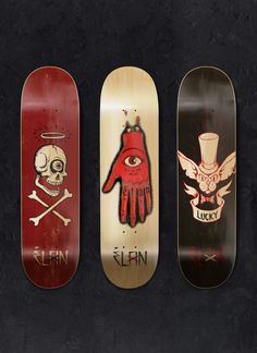 What an inspirational set of decks. Elan Skateboards does it again with some very tasty graphics by: Supervixen Artist Morten. I could easy collect all 3 SkullyBloodrider. Found via - Behance. Skateboard Deck Art, Longboard Decks, Skateboard Design, Longboard Design, Skate And Destroy, Skate Art, Skate Decks, Artist Portfolio, Creative Portfolio