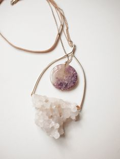 Stone jewelry, druzy quartz and agate stone, on a swing styled necklace