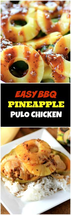 Easy BBQ Pineapple Pulo Chicken by Noshing With The Nolands #pulocuisine Chicken is marinated in a pineapple tamarind sauce and layered with pineapple and veggies to make a perfect dinner made easy on the BBQ.