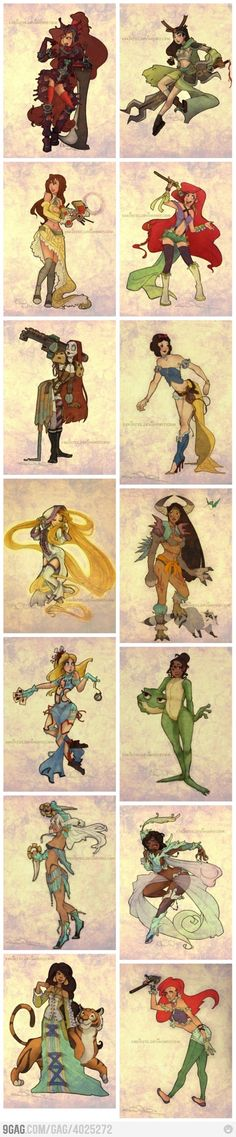 Disney princesses, Final Fantasy X-2 style....awesome!