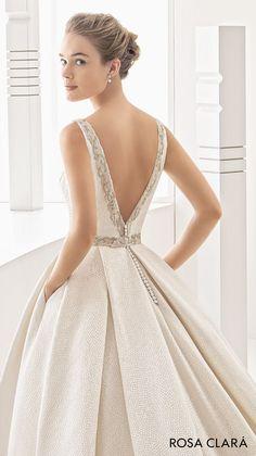 bridal sleeveless bateau neck full embellishment conservative classic ball gown wedding dress pockets low v back chapel train (namibia)