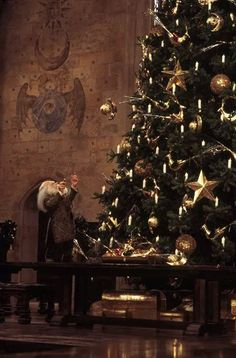 Professor Flitwick usually levitates the ornaments onto the large Christmas trees. Hermione and Belle have actually gotten some extra credit for helping him one year!