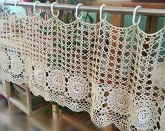 Blanco cortina de ganchillo café curtian por LynnLakeWorkshop