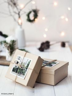 christmas gift wrapping with photos and memories - Diy Christmas Gifts Christmas Gift Wrapping, Diy Christmas Gifts, Handmade Christmas, Christmas Decorations, Diy Christmas Cards With Photos, Present Wrapping, Creative Gift Wrapping, Creative Gifts, Wrapping Ideas