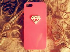 Fashion 3D Diamond Sweet Candy Rose Red Plastic Phone by EverMagic, $12.99