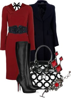 Red, Black & White Winter Outfit