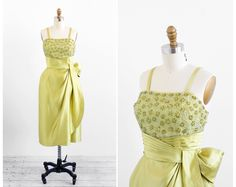 vintage 1950s dress / 1960s dress / Chartreuse by RococoVintage