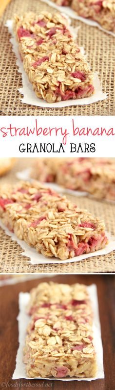 A simple recipe for skinny, clean-eating Strawberry Banana Granola Bars. Just 6 ingredients & SO much better than the granola bars sold in stores!