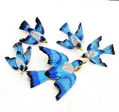 Coro Enamel Blue Bird Parure by AgedandOpulentJewels