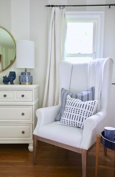 5 Tips for Updating and Creating a serene Master Bedroom using navy, cream, whites and gold. Accent lamps, mirrors, accessories, pillows and candles from HomeGoods make navy a trending color for this year. Sponsored HomeGoods Post