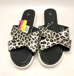 Women's Flip Flops Sandal Cross Strap Shoes Black Animal Print Size 8 New