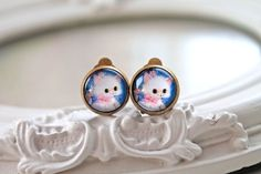 Kawaii cat  clip earrings sweet lolita feminine by DinaFragola