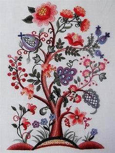 """Jacobean Flower Tree of Life 16"""" Floral Dimensions Vintage Crewel Embroidery Kit"""