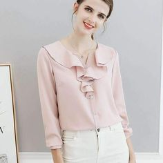 78f5d8f545f33 women blousesshirts white pink blue ruffles neck slim long sleeve casual shirts  plus size 2xl tops