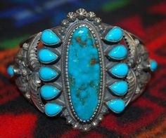Navajo artist Kirk Smith Kingman turquoise and sterling silver cuff bracelet