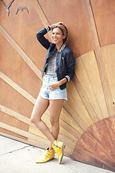 spring layers | marble grey tank, high waist denim shorts, bomber jacket, head wrap and yellow boots #ootd #stylemegrasie