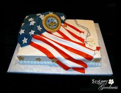American Flag with Army Emblem and dogtags - A welcome home / of July cake for an army soldier returning home from Iraq. Inspired by Janet Brown's flag/military cakes. Army Cake, Military Cake, Military Party, Flag Cake, Military Retirement Parties, Retirement Cakes, Retirement Ideas, Marine Cake, Welcome Home Soldier
