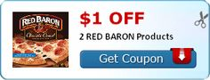 You can take that coupon right over to the Dollar Tree where the Red Baron pizzas have been spotted for $1.00 or only $.50 after coupon! $1.00 off 2 RED BARON Products      Buy (2) Red Baron Single Pizza $1.00     Use (1) $1.00/2 off Red Baron Pizza Singles coupon     Final Price = $.50!