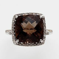 Sterling Silver Smoky Quartz and Diamond Accent Ring - mom