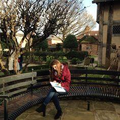 Emma feeling inspired! Outside William Shakespeare's birthplace #stratford #shakespeare