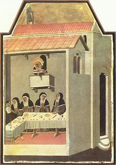 Nuns dining in silence, listening to the reading of the Bible (humility, Pietro Lorenzetti, 1341).