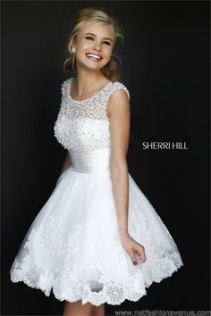 d6d30a4b3087 White Pearl Beaded Top Short A Line Embellished Sherri Hill 4302 Dress