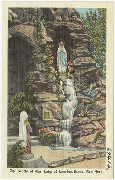 The Grotto of Our Lady of Lourdes, Bronx, New York. We always had water from the Grotto de Lourdes.Mami, even used it for Mosquito bites ; Prayer Garden, Meditation Garden, Blessed Mother Mary, Divine Mother, Ste Bernadette, Grotto Design, Lourdes Grotto, Marian Garden, Our Lady Of Lourdes