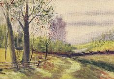 Red Thistle Hill Vermont Unused Art Post Card  by TheOldBarnDoor, $5.00