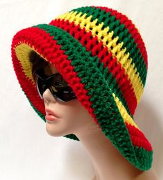 Large Brimmed Rasta Sun Hat. Crochet Beach Hat ♥ by Africancrab, $15.00