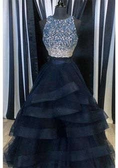 A Line Beading Bodice Layers Long  Prom Dresses Evening  Dresses  (ED1614)