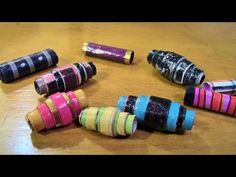 Paper Bead Tutorial - Make these pretty layered tapered paper beads using magazine pages - YouTube