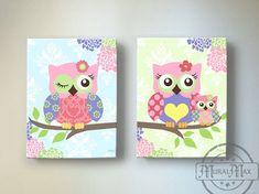 Owl  Decor - OWL canvas art, Baby Girl Nusery Art Owl Nursery Prints, Canvas Nursery Art on Etsy, $102.00