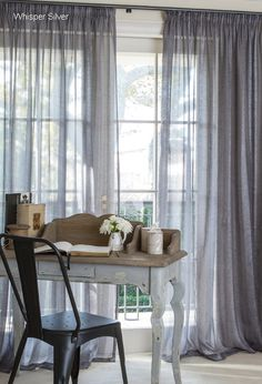 These Curtain Studio Silver Shimmering Sheer curtains would be perfect for the second layer of overlapped curtains Pleated Curtains, Curtains With Blinds, Cream Living Rooms, Home And Living, Gray Interior, Interior Design, Buy Curtains Online, Curtains Living, Colorful Curtains