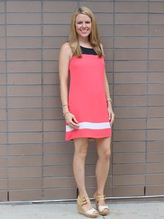 Coral Colorblock Shift Dress from Molly and Me Company - and if you click through there is a $30 giveaway!